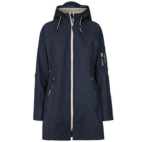 Ilse Jacobsen Klassische ¾ Lange Damen Jacke | Outdoor Regenjacke wasserdicht, Winddicht, atmungsaktiv aus Softshell Material| RAIN37B Blau 38