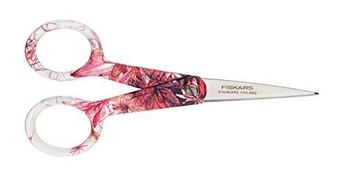 Fiskars Nähschere Gloria, Länge 12,5 cm, Rostfreie Stahl-Klinge/Kunststoff-Griffe, Blumen-Muster, Inspiration, 1000840