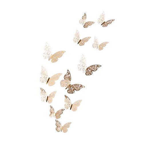 HOME Vaycally - 12 Pegatinas 3D para Pared Hueca, decoración de Mariposas, Bonitas y Encantadoras, artesanía