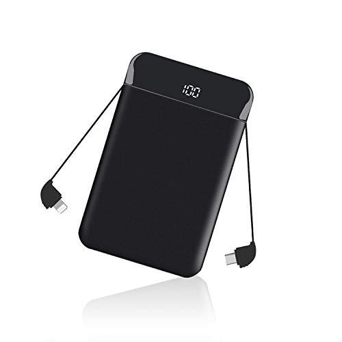Beefix Mini Power Bank Tragbares Ladegerät 9000mAh Ultra Slim Tragbares Ladegerät Externes Ladegerät mit LCD-Display Eingebaute Kabel für iPhone/iPad/Android/Samsung Galaxy und mehr