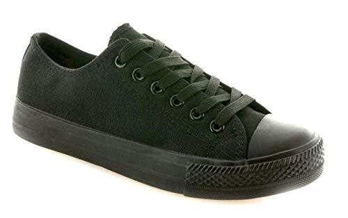 JUMEX Neu Damen Sneakers Freizeit Turnschuhe Low Top Schuhe (46, Schwarz 2)