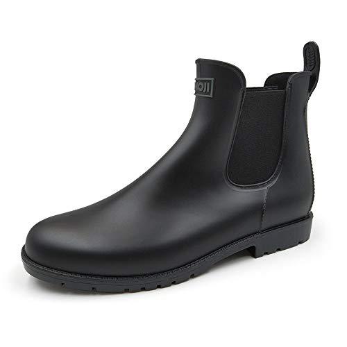 Amoji Unisex Chelsea Rain Boots Waterproof Ankle Garden BootsShort Booties Rainy Footwear Lady Girl Black 11 Women/9 Men
