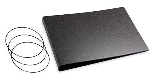 X17- A5 Quer 3er Hülle Leder-Fasermaterial graphit im Quer Überformat