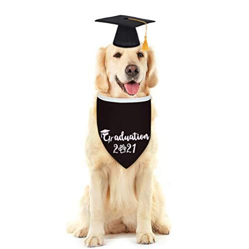 VALICLUD 2 Piezas de Gorras de Graduación de Mascotas con Borla Amarilla Graduación 2021 Bandana Mascota Graduación Sombrero Saliva Cuello de Toalla Gato Mascota Accesorios de Disfraz para