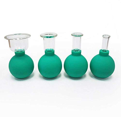 Haushalts Schröpfen Set 4PCS Tasse Gesichtsschönheit Schröpfen Massage Vakuum Glas Saugmassage Kit für Hals Kopf Gesichtskörper Anti-Aging, Anti-Falten (grün)