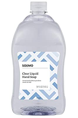 Amazon Brand - Solimo Gentle & Mild Clear Liquid Hand Soap Refill, Triclosan-free, 56 Fluid Ounces, Pack of 1