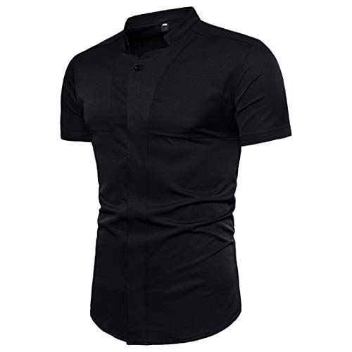 MENHG Men's Casual Trend Simple Dress Shirt Solid Color Button Down Formal Business Tee Tops Short Sleeve Breathable Comfortable Cotton Classic T-Shirt Cardigan Polo Shirts Black