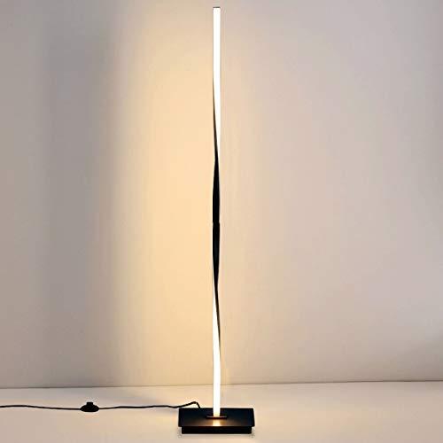 DREAMADE LED Stehlampe warmweiß, Moderne LED-Stehleuchte 20W/ 3000K, Standleuchte mit Metallbasis und Fußschalter, Standlampe Deckenfluter fürs Wohnzimmer, Schlafzimmer (Schwarz)