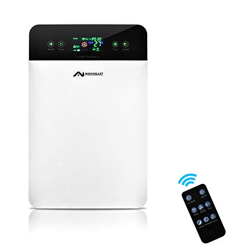 Nidouillet Air Purifier, High Efficiency HEPA Filter, Negative Ion Generator, Touch and Remote Control 2 in 1, Suitable for Homes and Workplaces with range of 41-60m? AB041