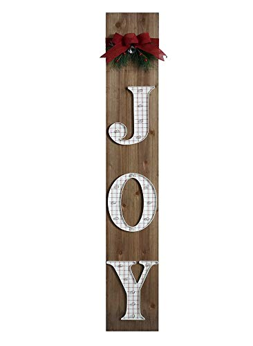Pre-lit Joy Wooden Sign for Front Door, Christmas Signs for Front Porch Decorations, Outdoor Vertical Porch Signs for Home