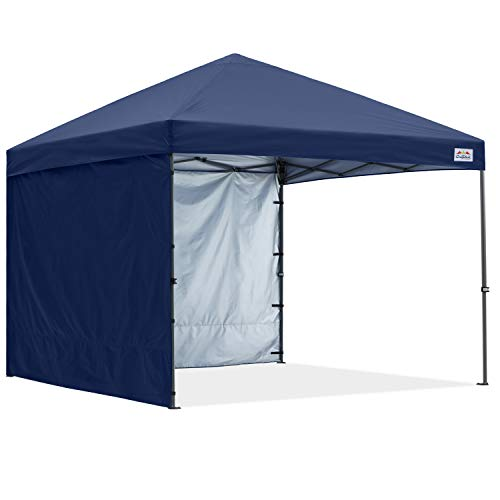 COOSHADE Pop Up Canopy Tent 10x10Ft Outdoor Festival Tailgate Event Vendor Craft Show Canopy with 2 Removable Sunwalls Instant Sun Protection Shelter with Wheeled Carry Bag(Navy Blue)