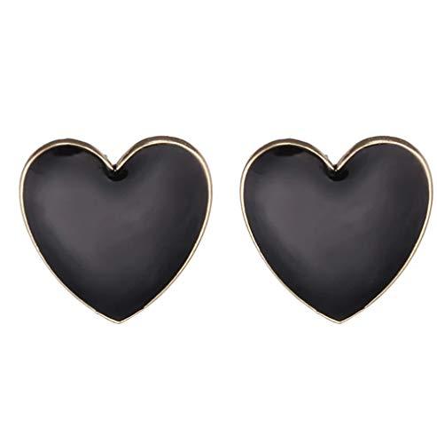 MXHJD Pendientes de botón de corazón de Color negro de moda para mujer, regalo de aniversario elegante, joyería de amor, pendientes femeninos con personalidad
