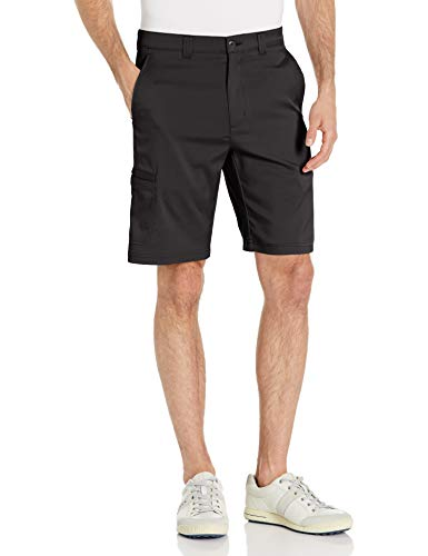 PGA TOUR Men's Flat Front Active Waistband Cargo Short, Caviar, 34