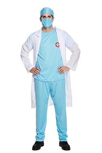 Hi Fashionz Damen Herren Arzt-Kostüm Krankenhausuniform Erwachsene chirurgisches Kostüm Gr. Einheitsgröße, Erwachsenen-Kostüm für Ärzte