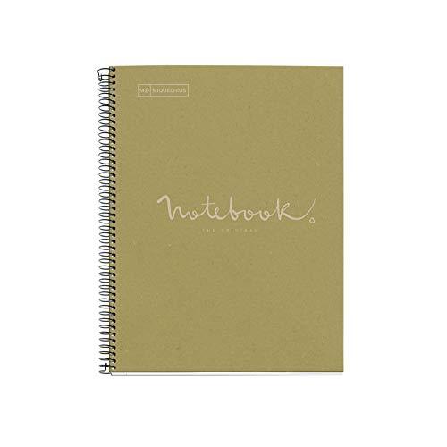 MIQUELRIUS - Cuaderno Notebook Emotions 100% Reciclado - 1 franja de color, A4, 80 Hojas con Rayado Horizontal de 7mm, Papel 80 g, 4 Taladros, Cubierta de Cartón, Color Verde