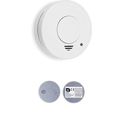 Smartwares TÜV geprüfter Rauchmelder/Feuermelder, DIN EN 14604 Zertifiziert, RM250, 1er Pack + Magnetbefestigungsset für Mini Rauchmelder, RMAG3_SW