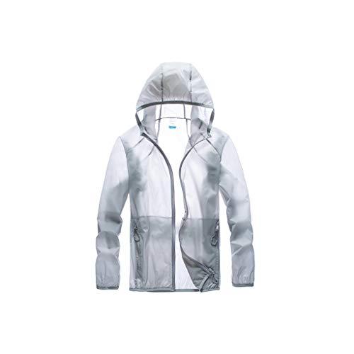 GCX - Protector solar transpirable para hombre, ropa de verano, ropa de piel transpirable para hombre de seda helada, chaqueta protectora solar, para pesca al aire libre, ropa elástica, color gris, tamaño xxx-large