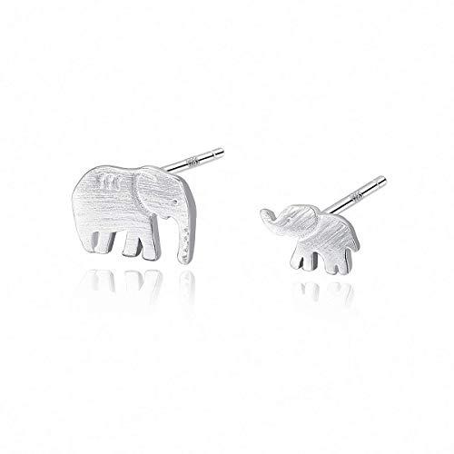 WYRKYP Pendientes S925 Pendientes de Plata Esterlina Sencillo Y Creativo Elefante Bebé Pendientes Asimétricos Pendientes de Temperamento para Mujer, Dos Pendientes de Estilo Diferente,Plata