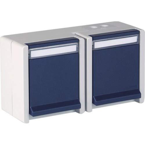 OPUS® RESIST Schutzkontakt-Steckdose 2-fach, waagerecht Ausführung 2-fach, waagrecht, Farbe hellgrau/stahlblau