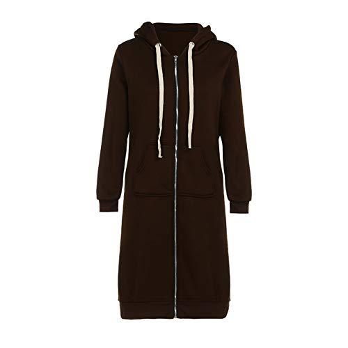 Abrigo de invierno para mujer, largo, cálido, elegante, suelto, cálido, con cremallera, abrir, chaqueta de invierno, parka larga, de entretiempo, abrigo de entretiempo cálido para otoño con capucha