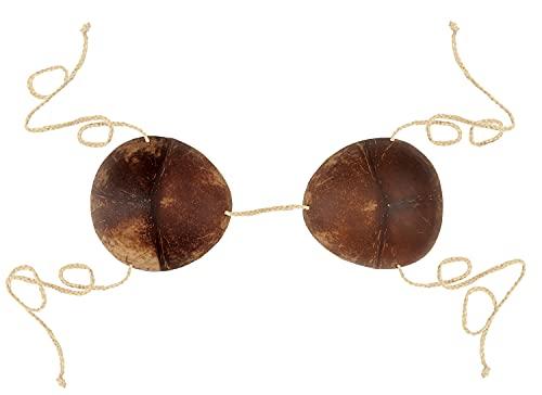 Beistle Coconut Shell Bra Bikini Top For Summer Luau Party Halloween Hawaiian Costume Accessory, One Size, Natural/Brown