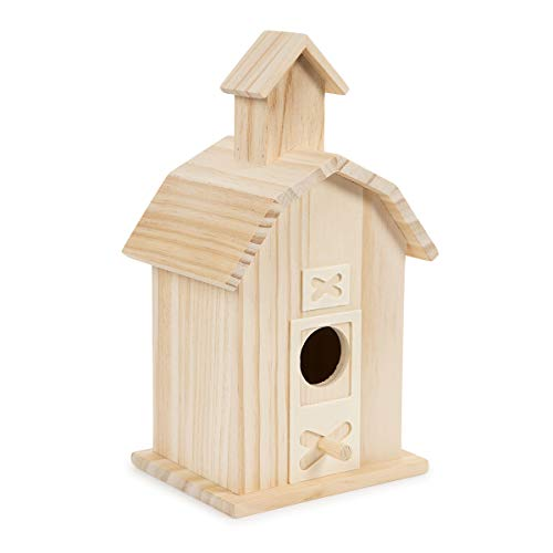 Darice 30024506 Decorative Accents, 13.5 by 10 inch Wood Bird House, Multi