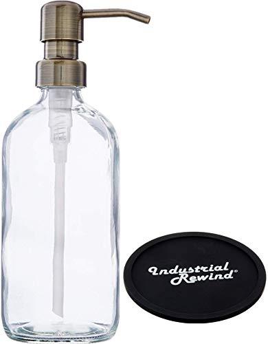 Industrial Rewind Clear Glass Soap Dispenser With Brass Metal Pump And Non Slip Coaster 16oz Refillable Liquid Soap Dispenser Pump Bottle For Bathroom Vanity Countertop Kitchen Sink Buy Online In Aruba