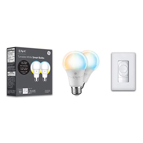 C by GE Smart Home Bundle Pack - 2 Smart LED Bulbs and Wire-Free Smart Dimmer Switch (2 LED A19 Tunable White Smart Light Bulbs + Wire-Free Smart Dimmer Switch + Color Control) (Packaging May Vary)