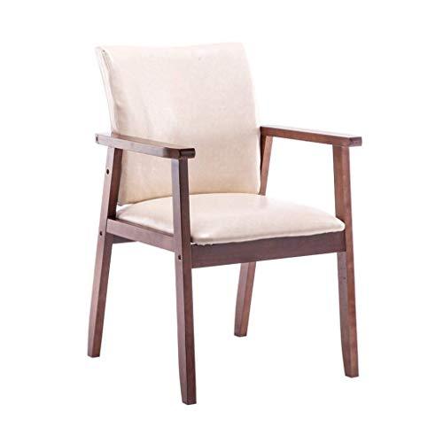 JIEER-C ergonomische stoel eettafel comfortabel; Hle notenhout leuning rugleuning bekleed PU-leer waterdicht Cafe sterke, duurzame woonkamer 150 kg - draagvermogen 54 × 54