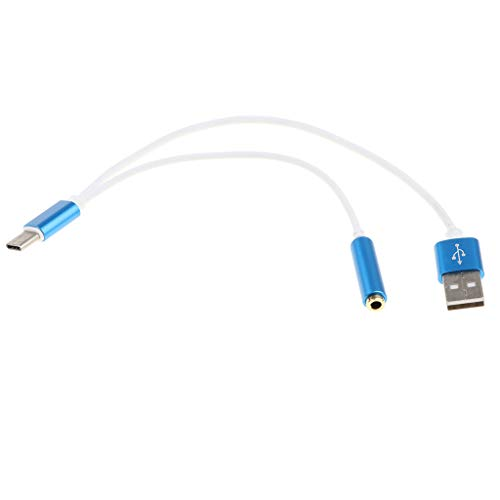 Gazechimp Adaptador de Audio de 2 en 1 USB-C a 3,5 Mm, Cable de Tipo 2 en 1 USB Tipo C Carga Rápida a Conector de Audio de 3,5 Mm Adaptador de Auriculares Sopor - Azul