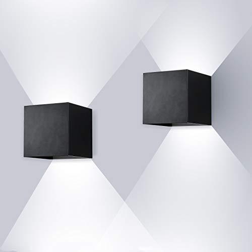 ENCOFT 2pcs 12W Apliques de Pared Exterior Interior COB LED, Lámpara de Pared en Aluminio IP67 Impermeable Ángulo de Luz Ajustable, Luz de Pared 6000K Blanco Frio, Negro