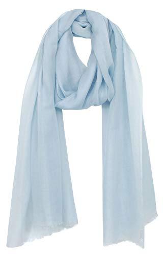 Bovari Kaschmir Schal Damen - 100% Kaschmir - Extra Leicht/Hauchzart - Premium Cashmere - 200 x 70 cm (Hell-Blau/hellblau)