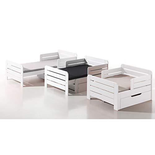 Alfred & Compagnie Leïa - Cama evolutiva (90 x 140 - 170 - 200 cm), color blanco
