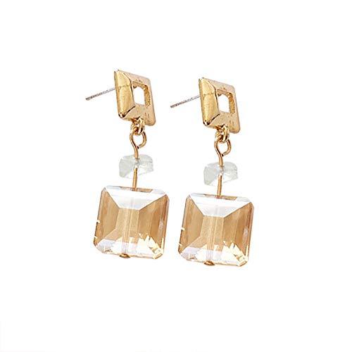 Demarkt Pendientes de oro cuadrados para mujer, colgante largo, piedra natural, gancho para el día de San Valentín/cumpleaños, tamaño 7,4 cm x 7,4 cm