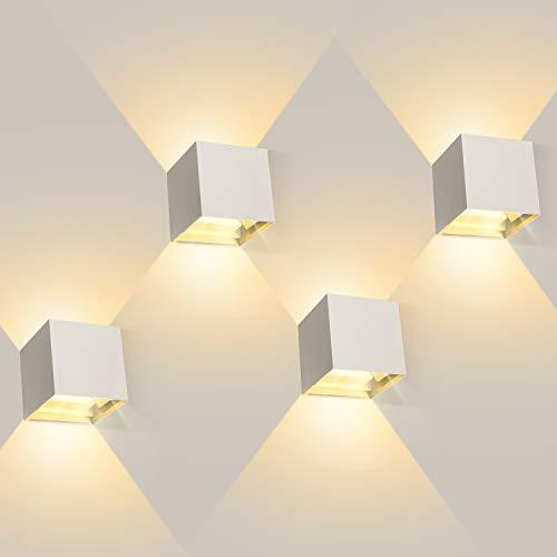 ledmo 4 Pezzi 12W Lampada da Parete LED Moderno, Applique da Parete interno/esterno, Bianco caldo 3000K, Applique cubo in alluminio, Angolo del fascio regolabile, IP65 Impermeabile (Bianca)