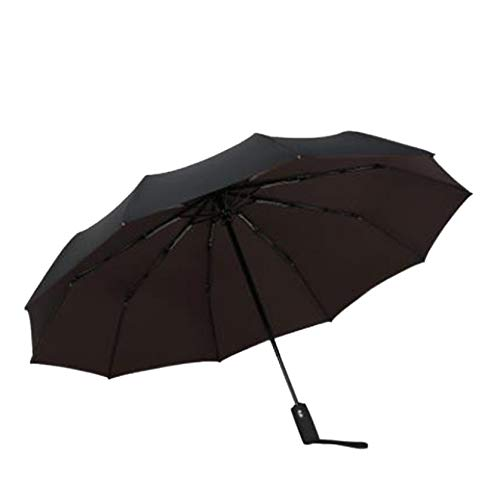 Paraguas Automático A Prueba De Viento De Doble Capa 10 Hueso Macho Y Hembra Paraguas Tres Veces Comercial Gran Paraguas Claro 59 * 10K Marrón