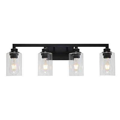 VINLUZ Industrial Black Vanity Light 4 Lights with Clear Glass Shade Farmhouse Bathroom Light Fixtures Metal Wall Lighting Sconces for Hallway Bedroom Living Room