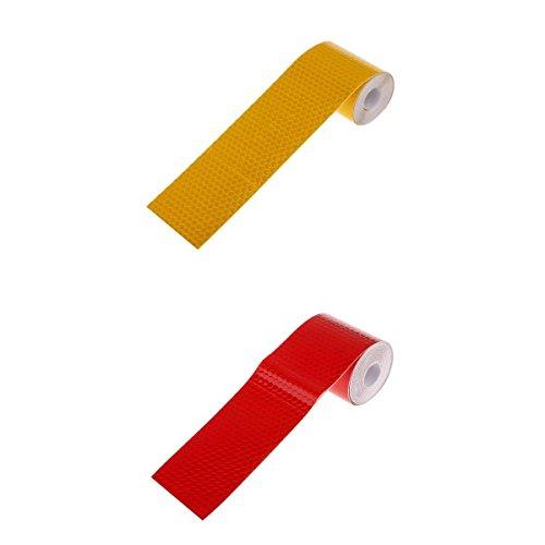 2 Stk. reflektierendes Band Klebeband reflektierende Klebefolie hoher Intensität Reflexstreifen Sicherheits Reflexband bei Dunkelheit und Nacht -Orange + Rot