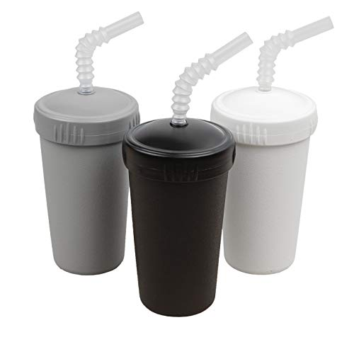 Re-Play Made in USA 3pk Straw Cups with Bendable Straw in Grey, Black and White   Made from Eco Friendly Heavyweight Recycled Milk Jugs - Virtually Indestructible (Monochrome)
