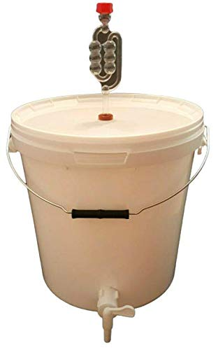 sil2018 Kompletter Gärbehälter für Bier oder Wein mit Ablasshahn und Gärröhrchen kostenlose Fass Gäreimer Eimer Gärfass 20L Hahn Gute Qualität