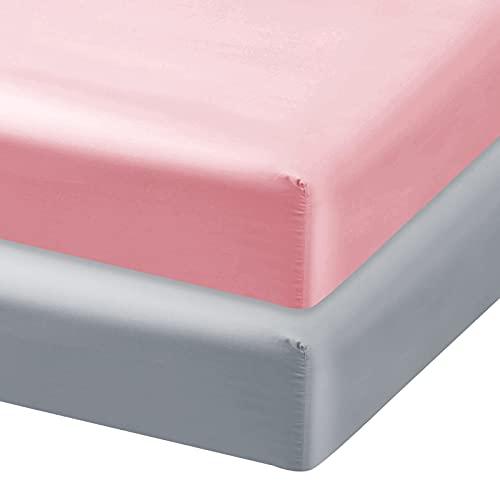 Satin Pack and Play Sheet Fitted, 2 Pack Portable Playard   Mini Crib Sheets, Ultra Soft Satin Microfiber Pack N Play Sheets, White & Pink, Preshrunk