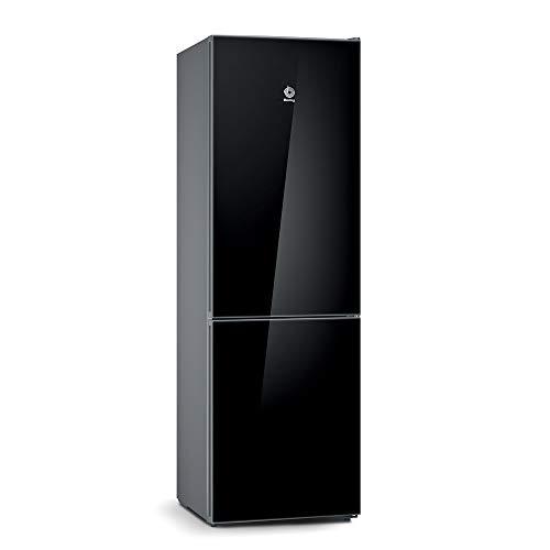 Balay, 3KFE565BI - Frigorífico combi No-Frost, Acabado en cristal, Altura 186 cm, 237 litros, Color Negro