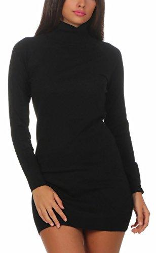 Fashion4Young 11392 Damen Feinstrick Pullover Strickkleid Strickpullover Rollkragen Minikleid Rollkragenpullover (S/M=34/36, schwarz)