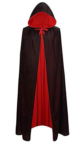 LIYZU Men Women Cloak Hooded Robe Tunic Knight Fancy Cool Easter Cosplay Halloween Costume Size 59' Black/Red