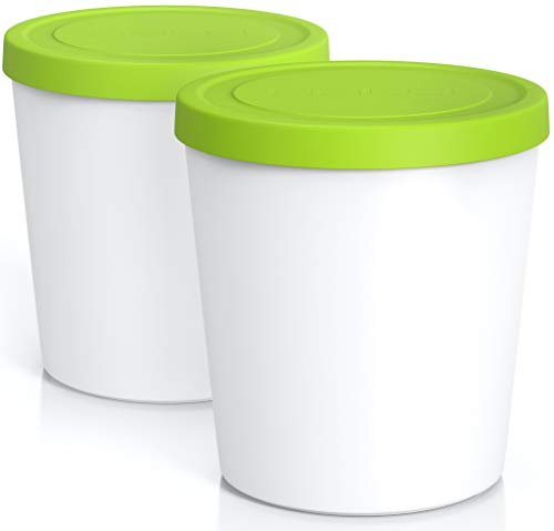 BALCI - Premium Ice Cream Containers (2 Pack - 1 Quart Each) Perfect Freezer Storage Tubs with Lids for Ice Cream, Sorbet and Gelato! - Green