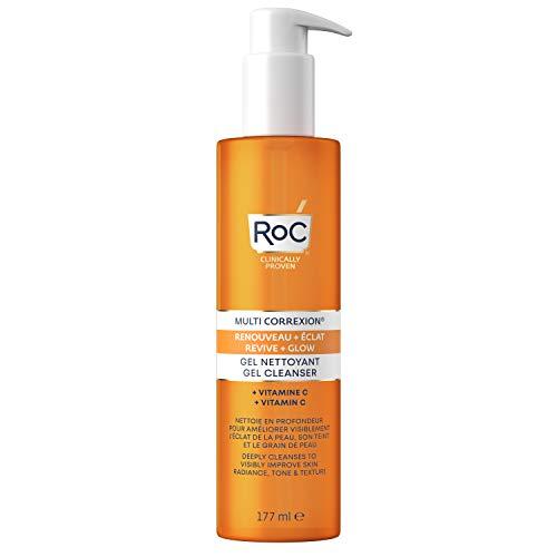 RoC - MULTI CORREXION Revive + Glow Cream Cleansing Gel - Limpiador facial vigorizante - Vitamina C - Realza la luminosidad de la piel - 177ml