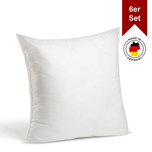 LILENO HOME 6er Set Kissenfüllung 45 x 45 cm - waschbares Innenkissen geeignet für Allergiker - Polyester Kisseninlet als Couchkissen, Sofa Kissen, Cocktailkissen und Kopfkissen