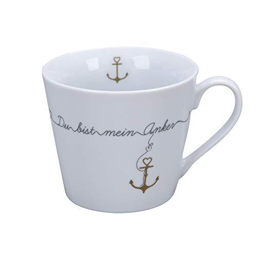 Krasilnikoff - Happy Cup - Becher, Tasse mit Henkel - Du bist mein Anker - Porzellan - H9 x Ø10 cm - Volumen: 400 ml