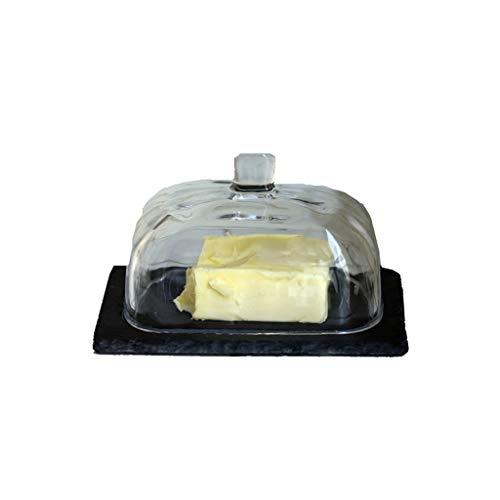 Boîte à Beurre avec Couvercle Beurrier avec couvercle - Style Japonais en verre Cuisine Container, beurre Pâte Assaisonnement vaisselle vaisselle Matériel de Cuisine Arts de la Table - Noir Beurrier C