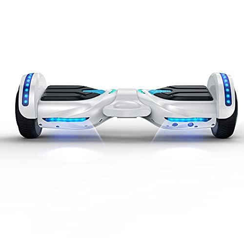 App Control Hoverboard eléctrico autoequilibrado de 2 ruedas, prevención inteligente de caídas con Blue Tooth 5.0 y patinete eléctrico con luz LED